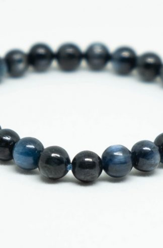 Reflective blue kyanite beads bracelet