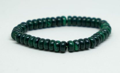 Green malachite bracelet with donut shaped beads